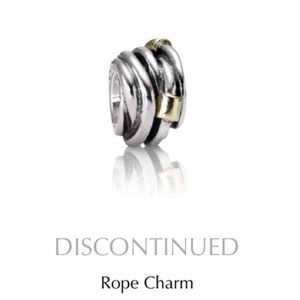 Pandora rope charm two tone 14kt gold charm